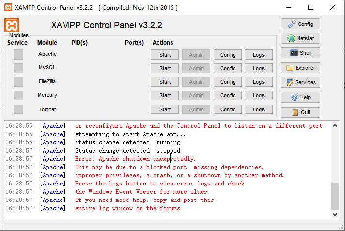 xampp启动错误提示Apache shutdown unexpectedly的解决方法